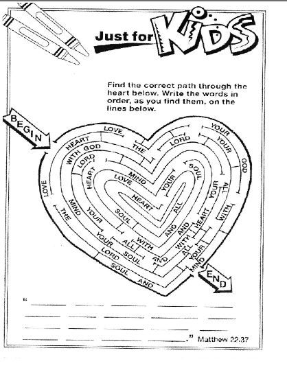 Scripture maze. Find the correct path through the heart