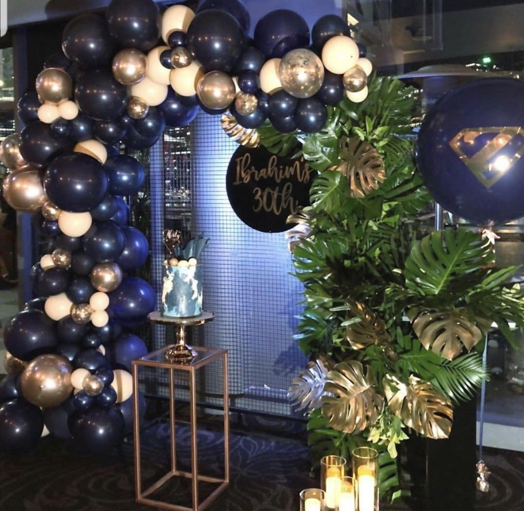 Navy Blue White And Gold Decor Balloon Decorations Party 60th