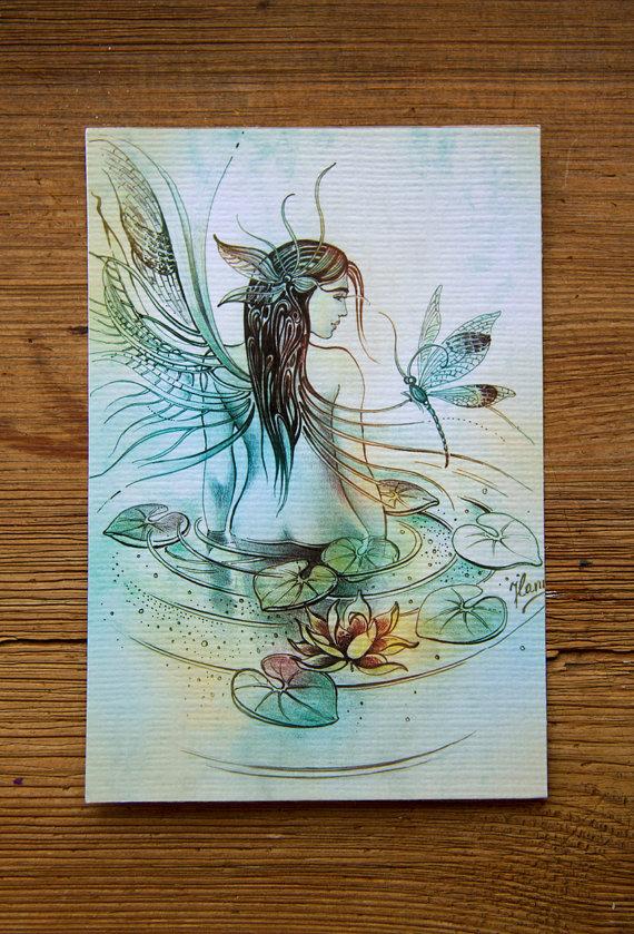 1/AQUARIUS Zodiac Sign angel protection water by AnnaHannahArt