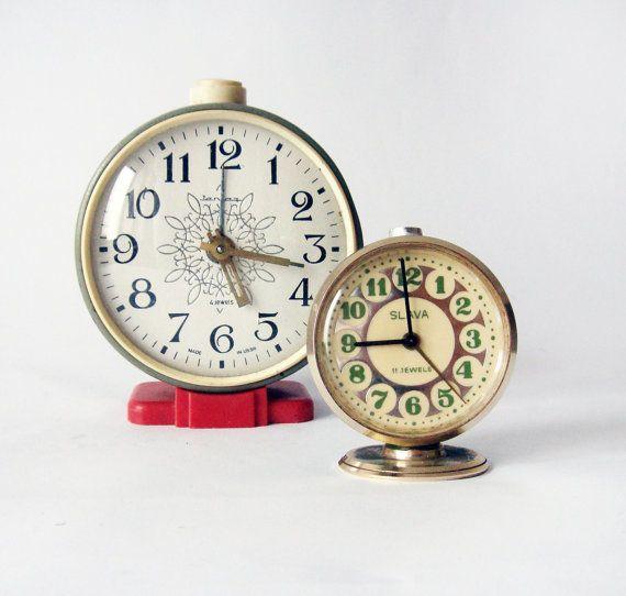 Russian Jantaz and Slava vintage alarm mechanical clocks red black