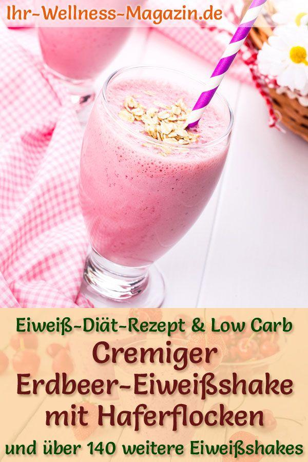 Einfacher Erdbeer-Eiweißshake mit Haferflocken - Low-Carb-Eiweiß-Diät-Rezept zum Abnehmen