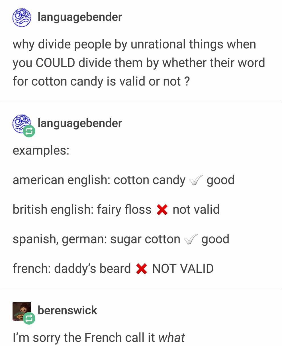 And Finally The French Term For Cotton Candy Which Will Absolutely Make You Shudder 17 Tumblr Posts That Ll O Tumblr Funny Funny Quotes Funny Tumblr Posts
