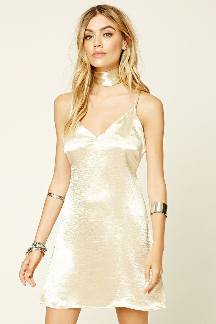 A satin slip dress by Reverse™ featuring a removable self-tie choker sash,