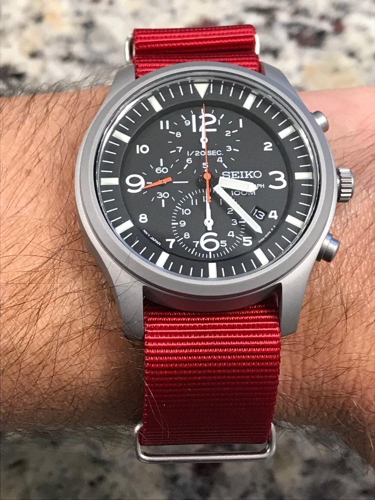 Seiko SNDA57P1 Quartz Chronograph Field Watch with added BluShark NATO Strap 229a9cf602