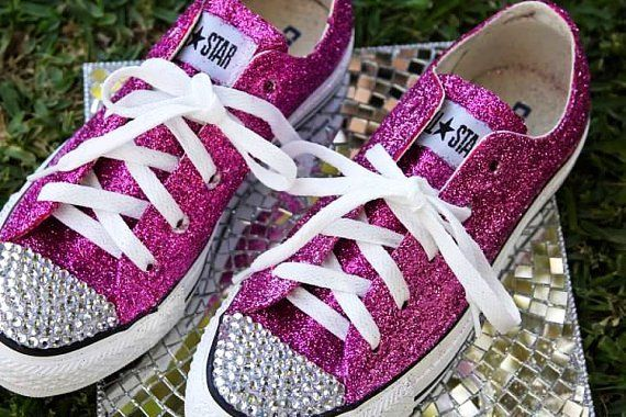 Pink Bedazzled Converse | Pink glitter