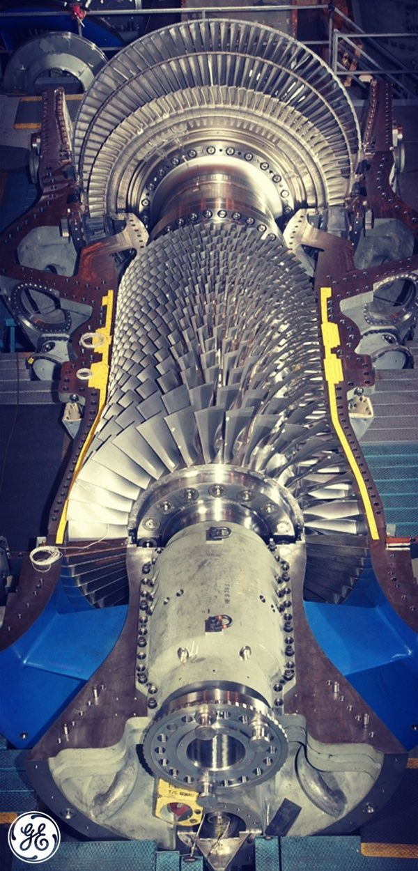 our f class gas turbines are the largest in the world it has an upstream rotating compressor coupled to a downstream turbine and a combustion chamber