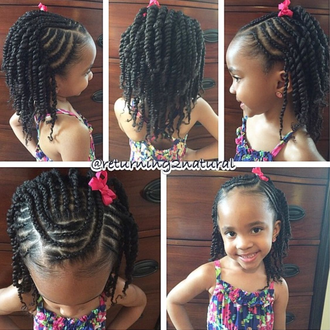 Cornrows in front, 2strand twists in the back Natural