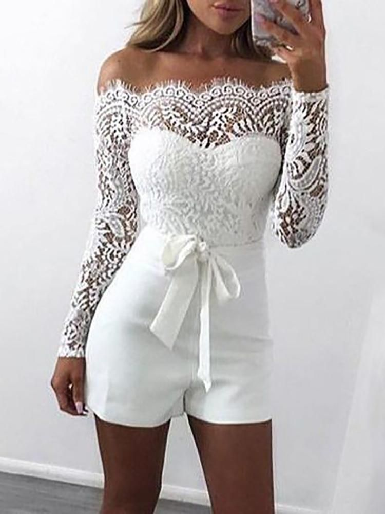 403739eba1be ... be to wear at the bachelorette party! If the day ever comes for me this  is what I ll be wearing!👀👰🔥 Off Shoulder Eyelash Lace Patchwork Belted  Romper