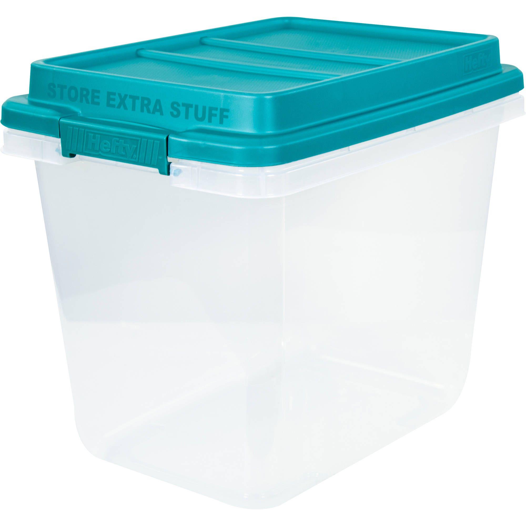 Hefty 32 Qt Hi Rise Clear Latch Box Teal Sachet Lid and Handles