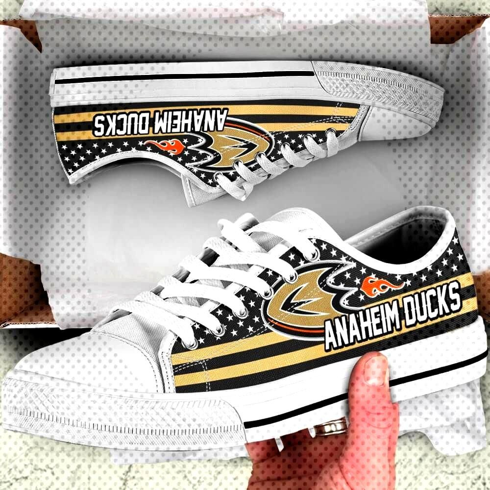 Anaheim Ducks Legend Since 1993 NHL Hockey Teams Black Low Top Shoes - Potatotee Store     Shipping