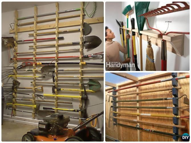 Diy garden tool rack hanger organizer instruction diy for Diy garden tool storage