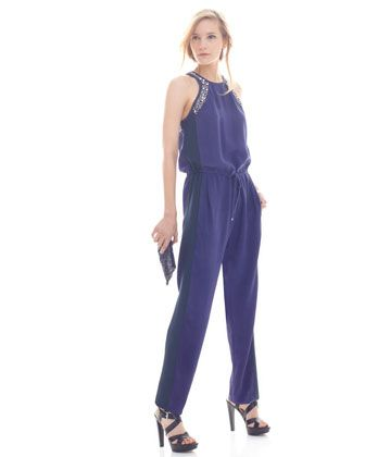 Rebecca Taylor Sequin Drawstring Jumpsuit - Neiman Marcus