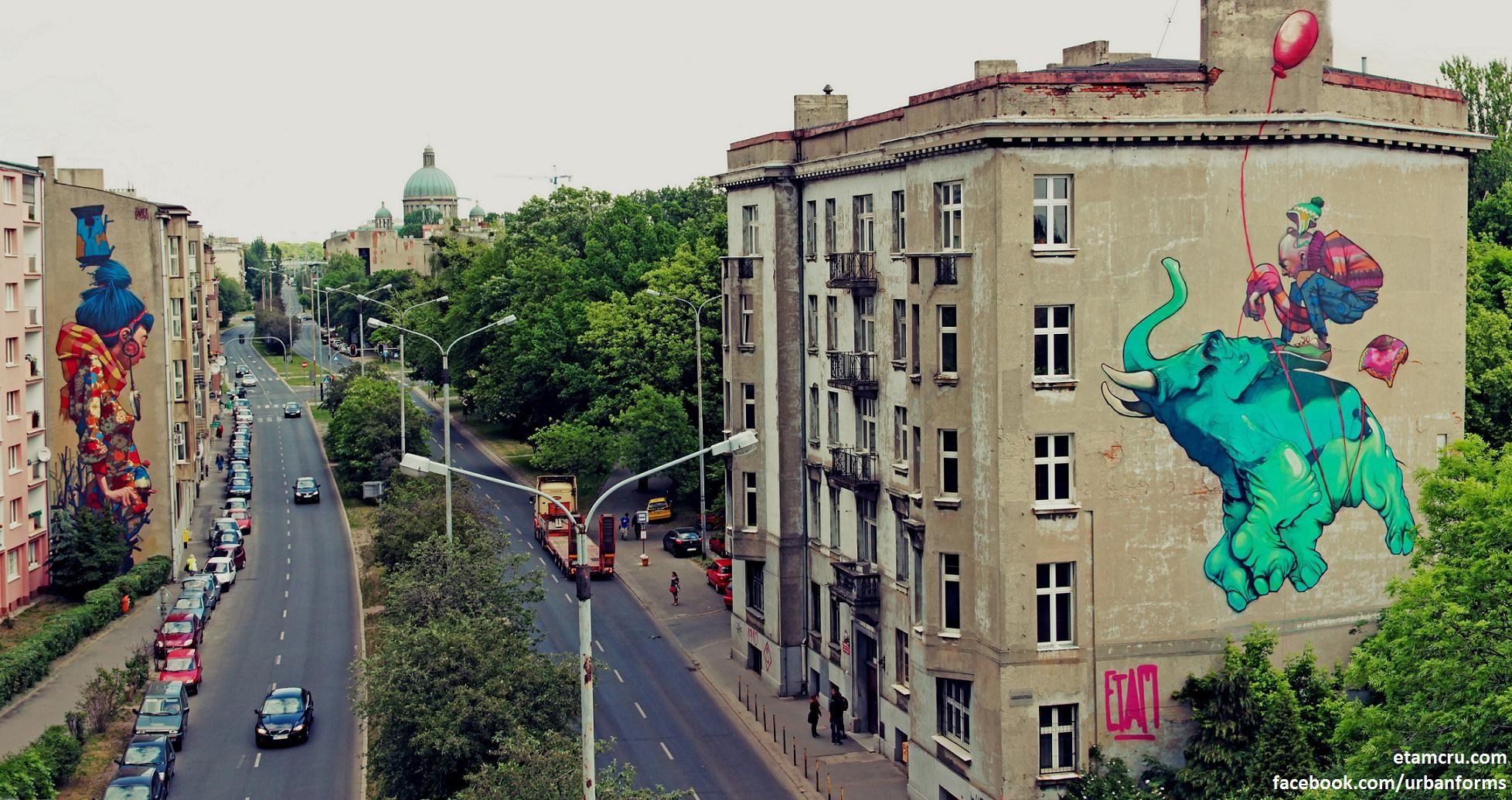 street art By Sainer from Etam Crew. On Urban Forms Foundation in Lodz, Poland 2