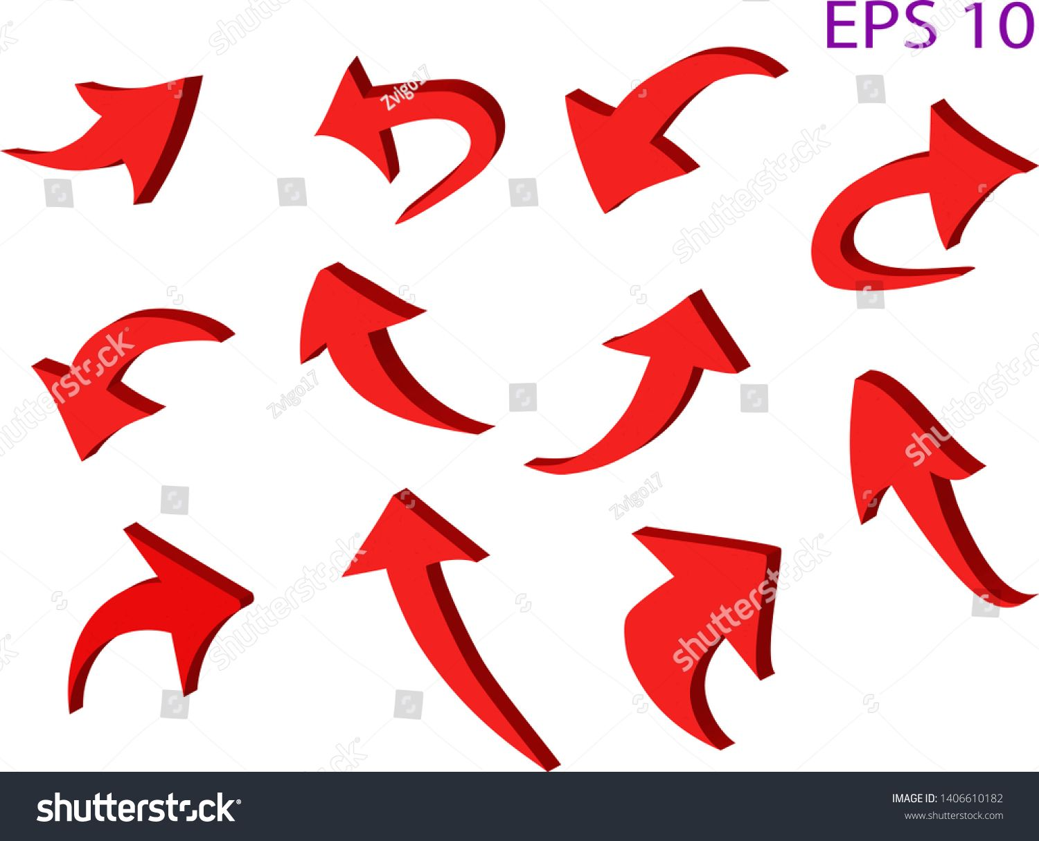 Curved 3 D red arrow icons set. Transparent background