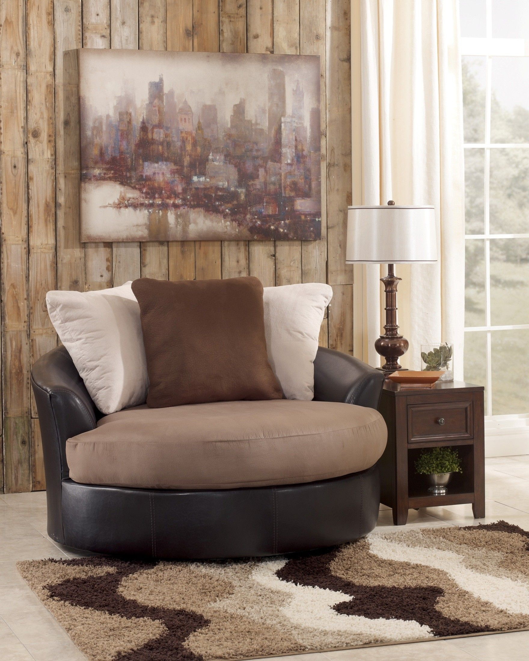 Masoli mocha oversized swivel accent chair furniture - Swivel chair living room furniture ...