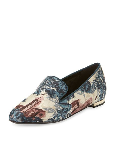27b6c100a67da BURBERRY Mormont Castle-Print Fabric Loafer, Airforce Blue. #burberry #shoes  #