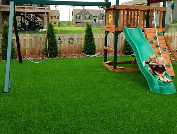 Green Easy to Clean Landscaping Artificial Turf for Playground.   Turf  backyard, Playground turf, Best artificial grass