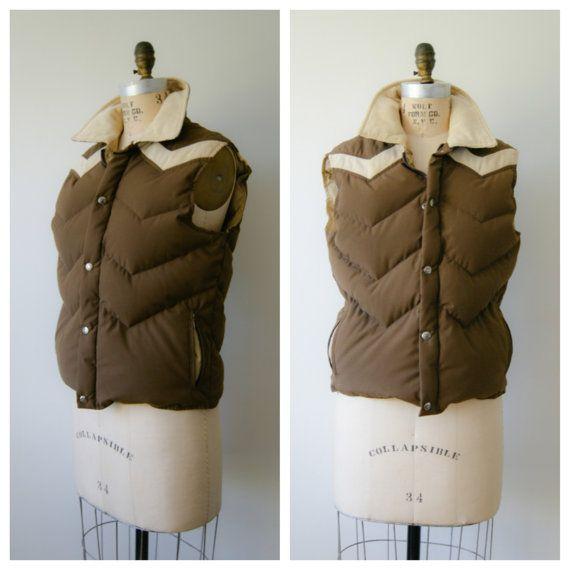 Woolrich Vest. Vintage Down Feather Puffy Vest. 90s Brown Chevron Jacket.  Medium /