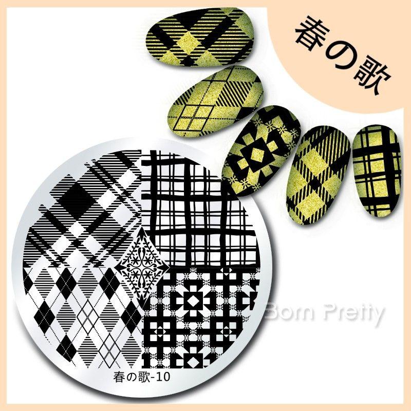 $099 春の歌 55cm Round Nail Art Stamp Template Diamond Shape - stamp template