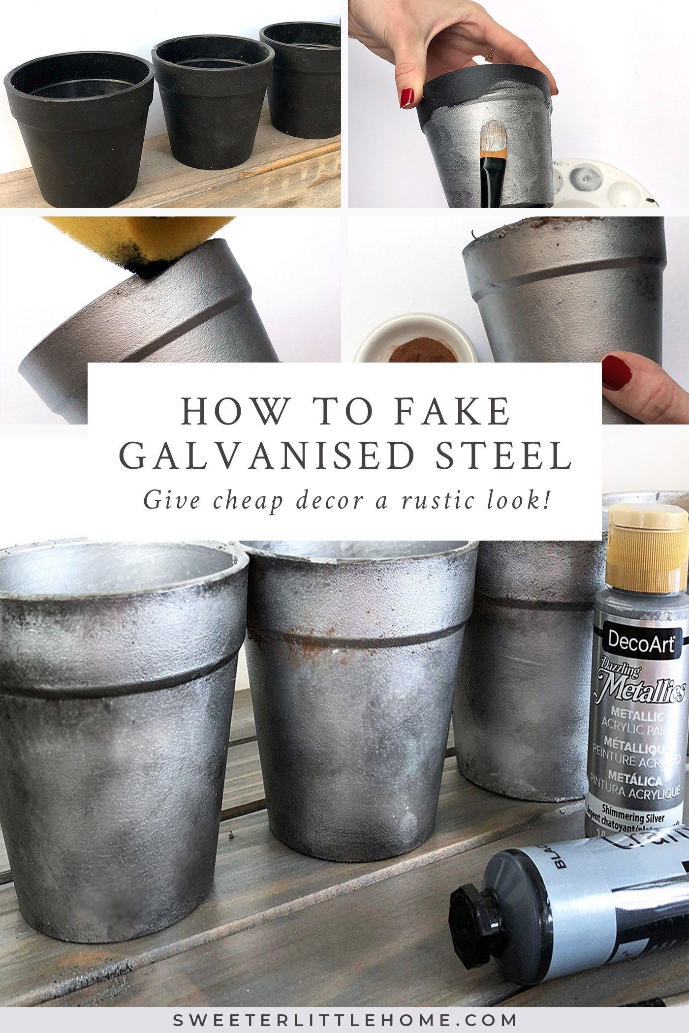 How To Fake Galvanised Steel The Easy Way Galvanized Decor Metal Tree Trendy Home Decor