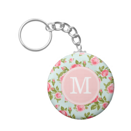 Cute girly feminine romantic country cottage chic vintage floral rose flower pattern keychain with a subtle faux linen fabric texture. Add your monogram initial for a custom personalized design!