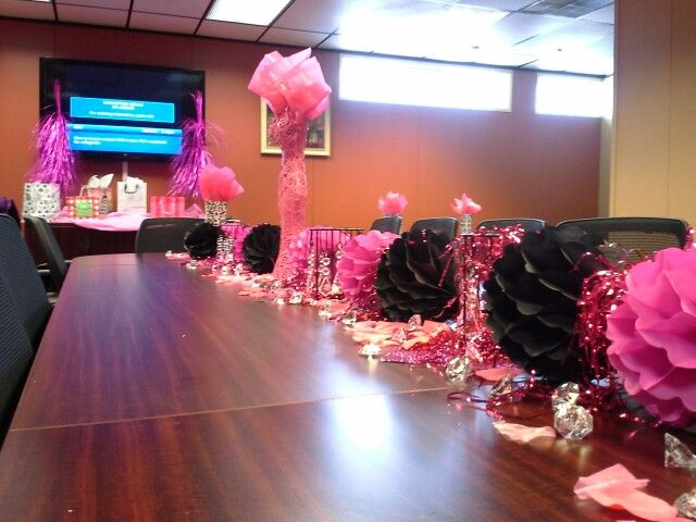 pink and bling bridal shower in office conference room