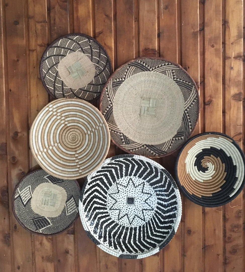 Vintage Design Baskets Wall Baskets Style Hanging Wall Baskets Weaving Craft Woven Storage Baskets Large Sisal Baskets Boho Stylish In 2020 Basket Wall Art Basket Decoration African Basket Decor