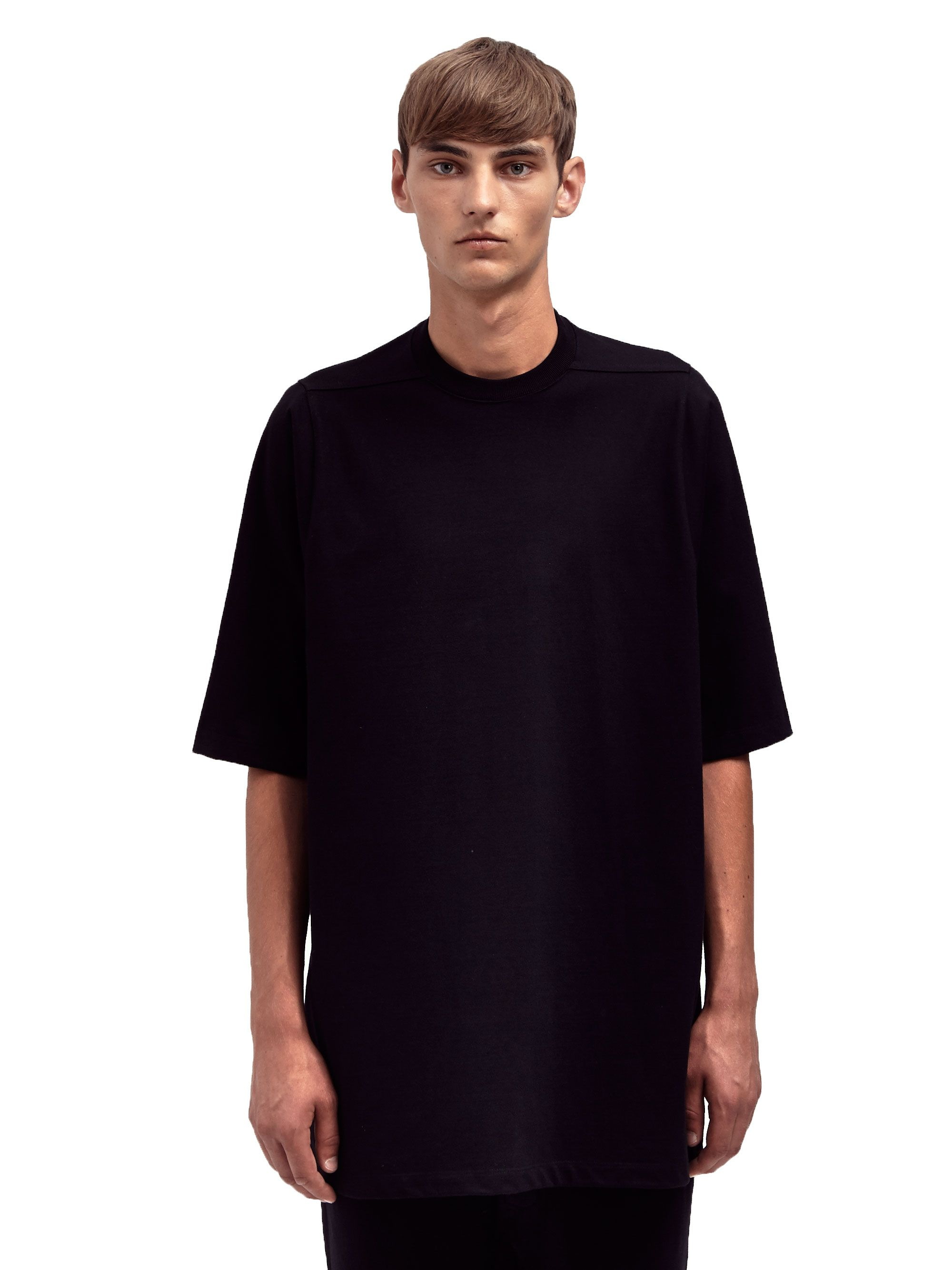 Rick Owens Mens Oversized Crew Neck Tshirt In Black For