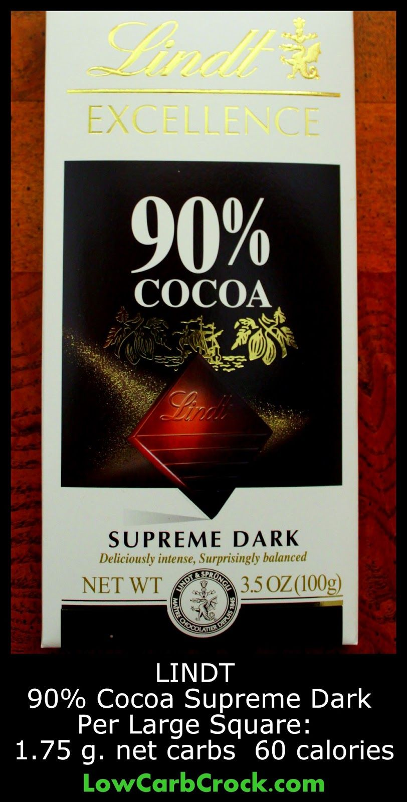 Lindt 90% Cocoa Supreme Dark Chocolate (Review) Low Carb & Low Cal ...