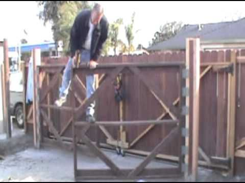 How To Build A Driveway Gate And Fence The Right Way Strong No Flexing No Dragging No Wheels No Over H Wood Gates Driveway Driveway Gate Driveway Gate Diy