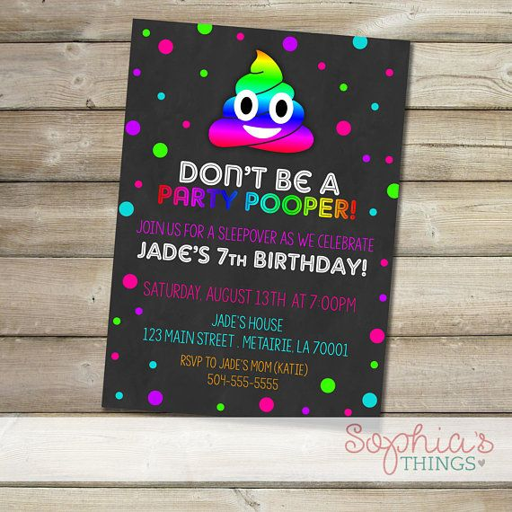 Don't Be A Party Pooper Emoji Birthday Party Invitation