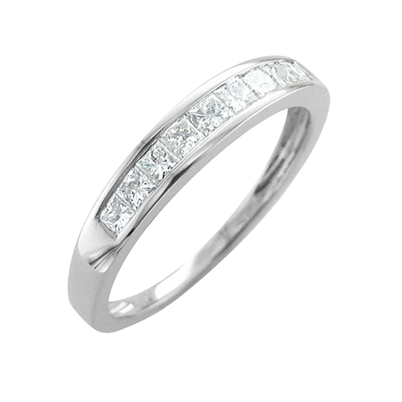 14K White Gold Princess Cut Diamond Wedding Ring Band (0.45 carat)