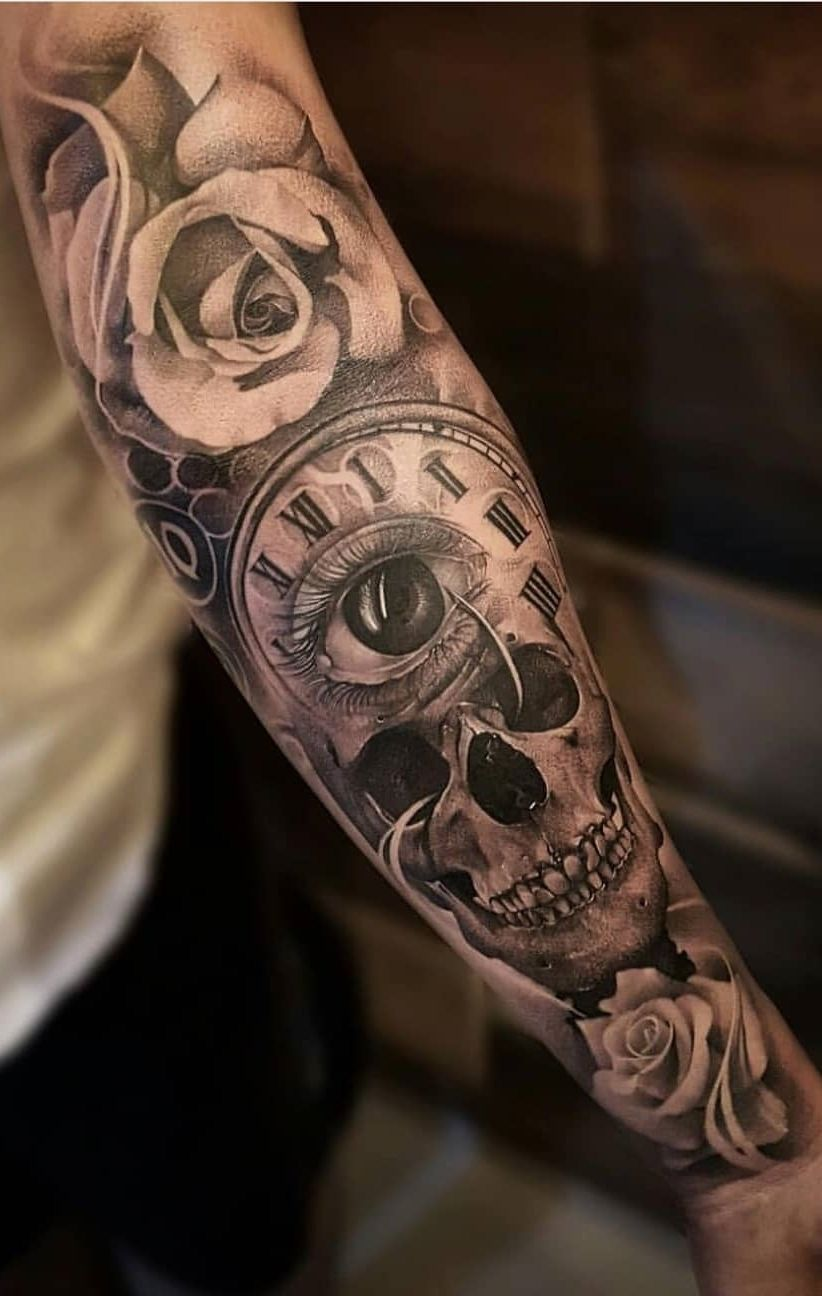 Pin By Hecho En Hierro On Tatuagens Masculinas Skull Sleeve Tattoos Sleeve Tattoos Rose Tattoos For Men