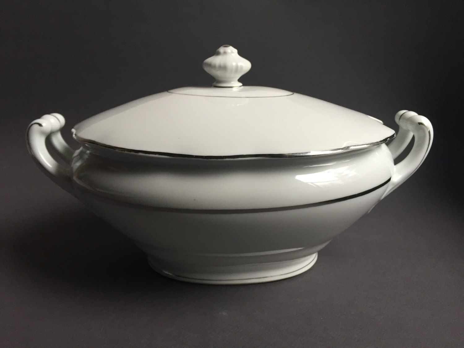50's White Porcelain with Silver lines Soup Bowl, Vintage ...