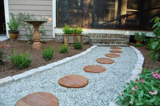 Garten Im Landhausstil Gartenweg Gestalten Kies Splitt Runde Trittplatten Darau Garten Gartenweg Gartengestaltung