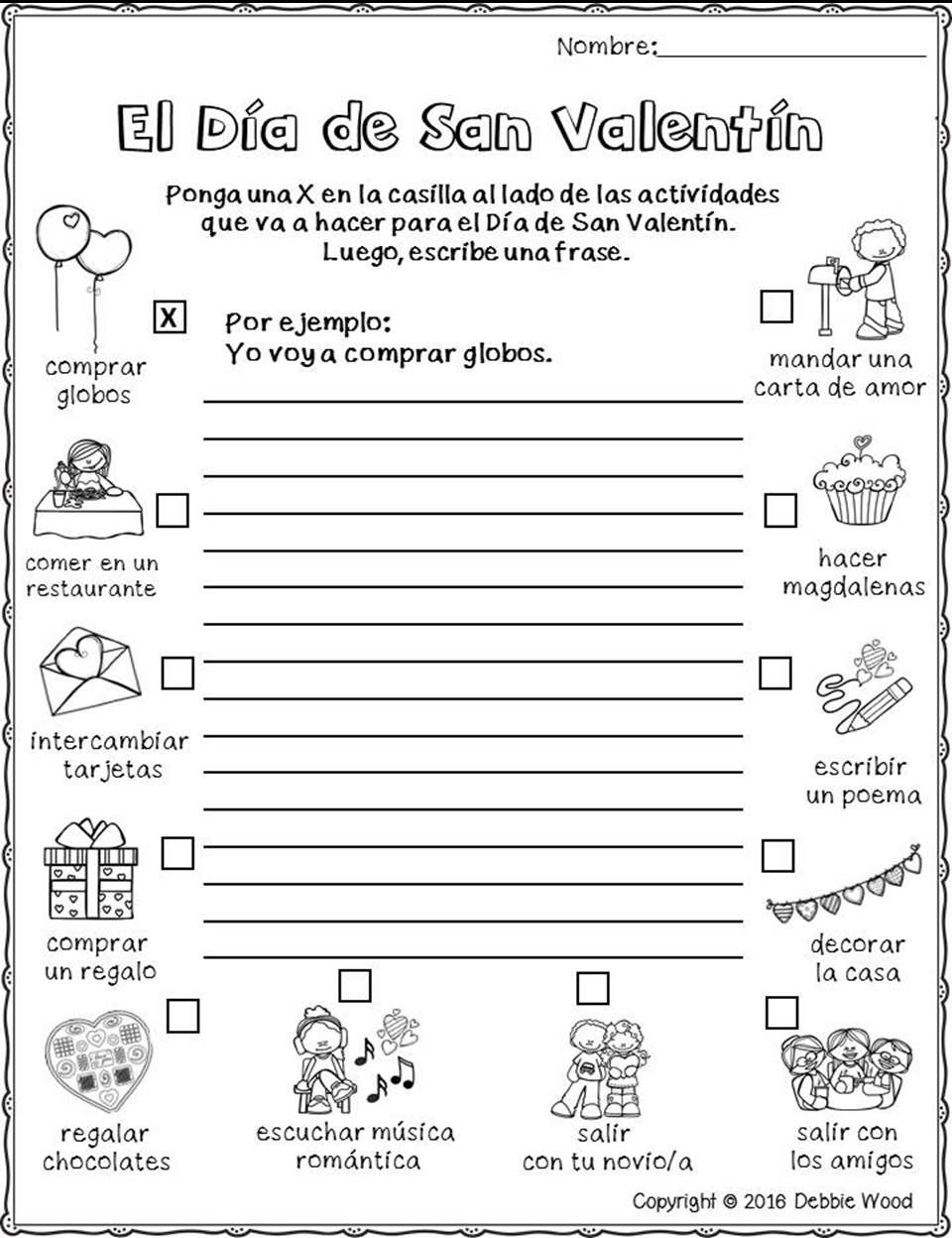 Worksheets Spanish Worksheets For Elementary Students spanish valentines day activities actividades para febrero dia worksheetsspanish teaching