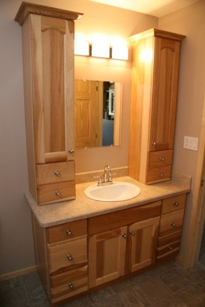 Natural Hickory Bathroom Vanity Natural Hickory Full