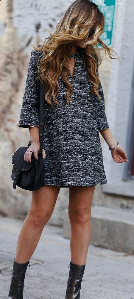 Black and white shift dress styled with metallic booties and Rebecca Minkoff Biker bag