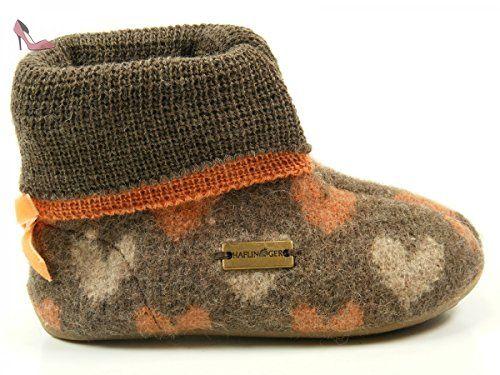 Haflinger 483073 Everest Herzblatt Chaussons fille, größen kinder:33 EU;Farbe:marron - Chaussures haflinger (*Partner-Link)