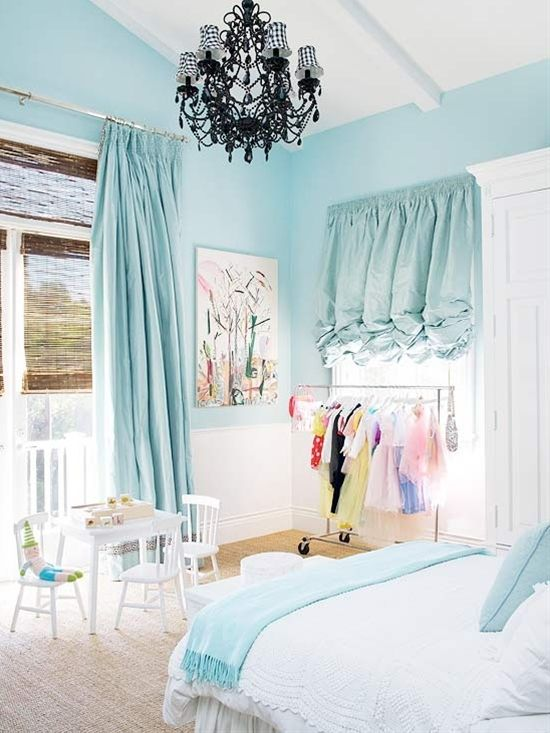 Light Blue Girls Bedroom With Black Chandelier And Ruffle Curtains - Light blue girl bedrooms