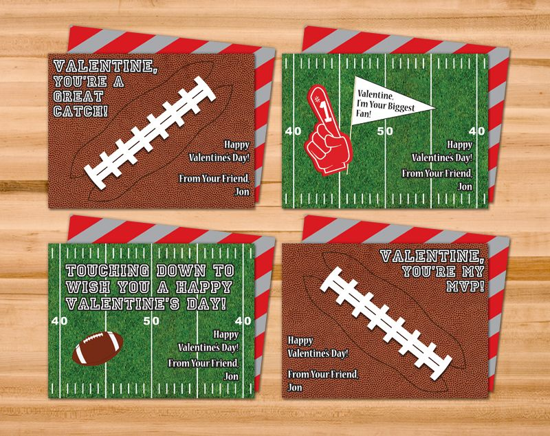 two sided printable football valentine cards 4 different designs in one file customized with your childs name only 650 at sweet janie designs