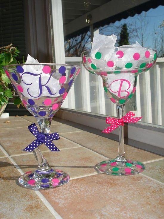 personalized preppy polka dot wine glass bridesmaid wedding gifts