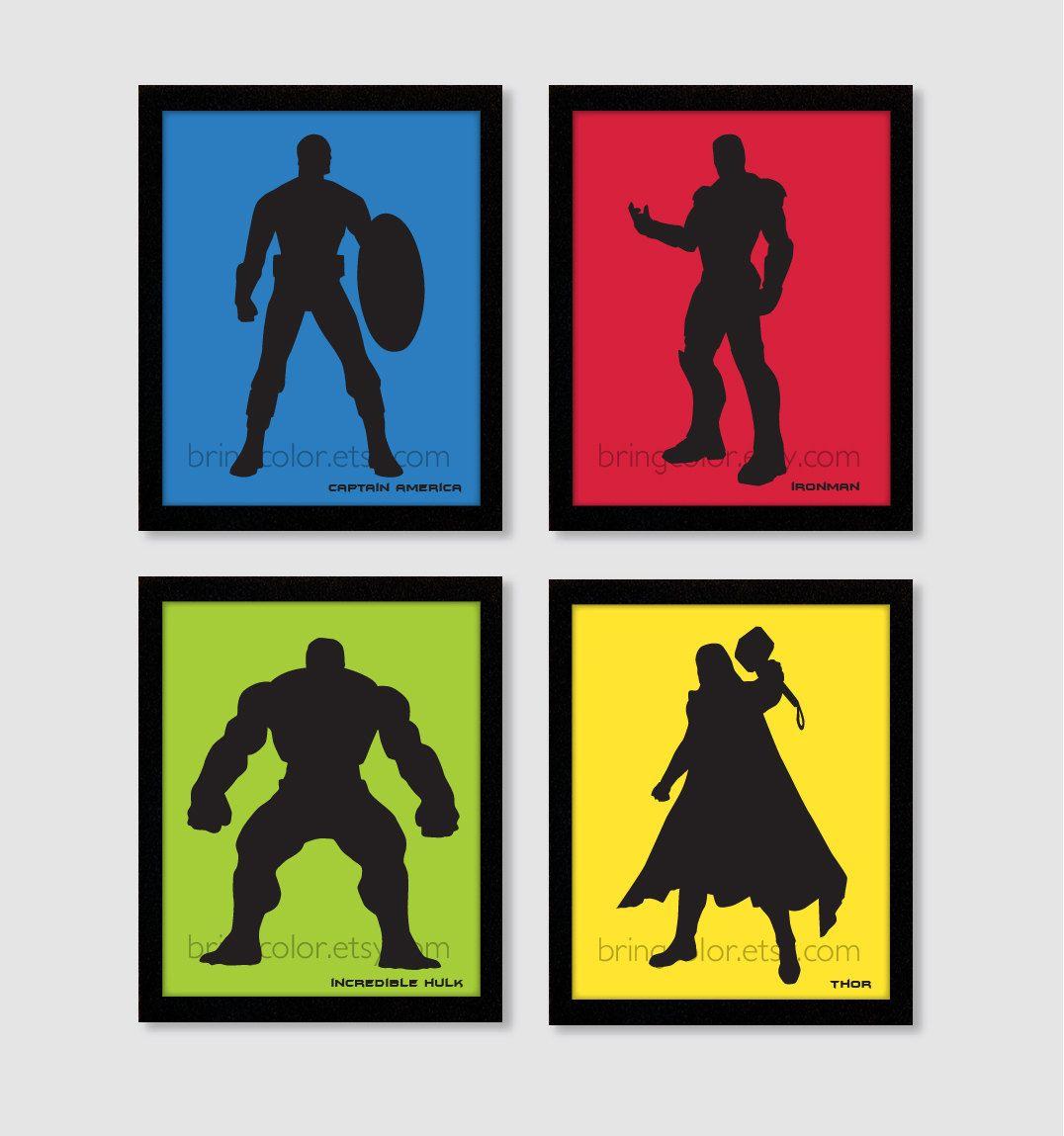 Superheroes Marvel Dc Comics Avengers Justice League Silhouette Set Of 4 Wall Art Prints 8x10 Boys Bedroom Or Home Decor