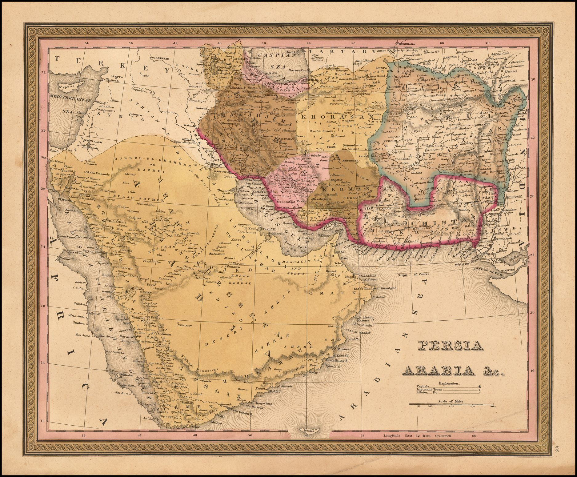 Striking map of saudi arabia iran iraq and afghanistan showing striking map of saudi arabia iran iraq and afghanistan showing nice detail 1846 gumiabroncs Gallery