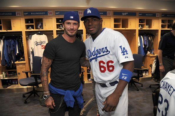David Beckham Photos Photos Celebrities At The Los Angeles Dodgers Game David Beckham Photos Dodger Game Dodgers