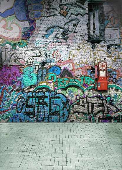 200cm 150cm Vinyl Backdrop Graffiti Wall And Brick Floor