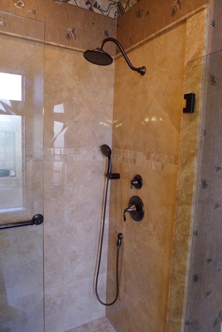 Carmel Travertine: Shower Sills, Bull Nose Around Top Edge Of Tile, Trimmed  Soap Niche. Polished Porcelain X Roma Camel Tile