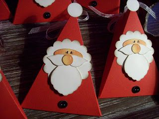 so cute made using triangle box and punches for santa. Black Bedroom Furniture Sets. Home Design Ideas