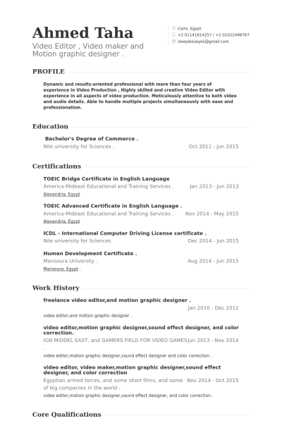 Graphic Designer Resume Examples Freelance Video Editorand Motion Graphic Designer Resume