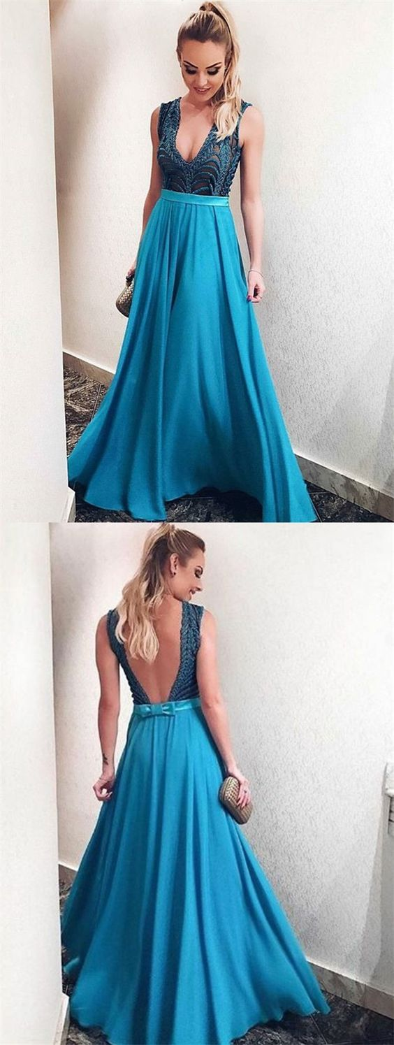 Aline deep vneck blue chiffon backless prom dress with appliques